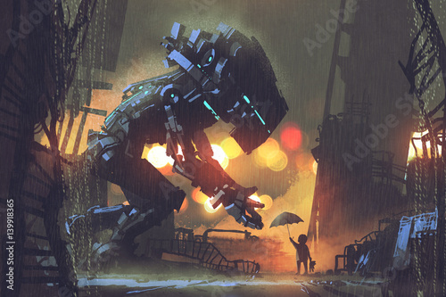 kid giving umbrella to giant robot in the rainy night,illustration painting © grandfailure