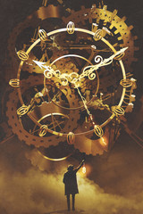 man with a lantern standing in front of the big golden clockwork,illustration painting © grandfailure
