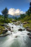 Himalayan Mountains Blurred Flowing Stream Landscape in beautiful Aru Valley, Kashmir