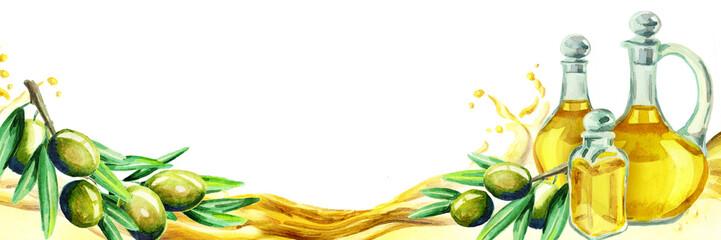 Olive horizontal title. Watercolor © dariaustiugova