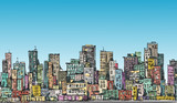 Cityscape. Hand drawn vector. Vector illustration - 139934110
