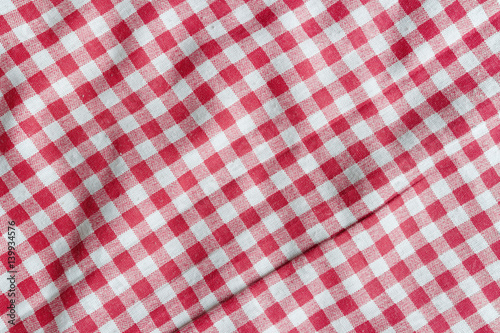 Red linen picnic tablecloth. Poster