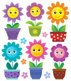 Flowerpots with smiling flowers set 1