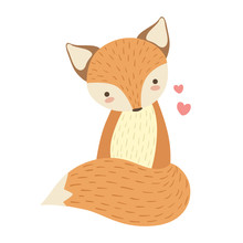 Red Fox Cute Toy Animal  Detailed Elements Part Of Fauna  Of Childish  Stickers Sticker