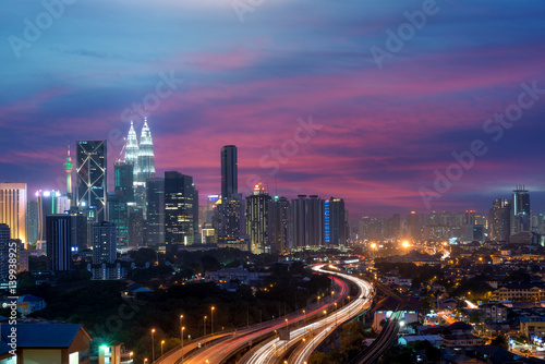 Poster Kuala Lumpur skyline and skyscraper at night in Kuala Lumpur, Malaysia