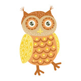Owl Cute Toy Animal With Detailed Elements Part Of Fauna Collection Of Childish Vector Stickers