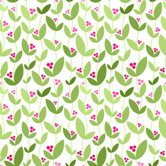 Seamless pattern with leaves and berries. Vector illustration.