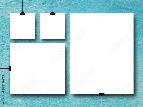 Multiple square and rectangular frames on aqua concrete wall | Buy ...