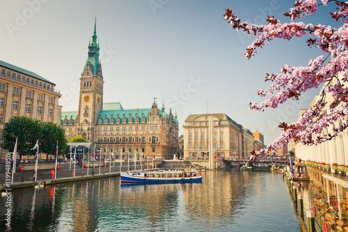 Leinwanddruck Bild Hamburg townhall and Alster river at spring