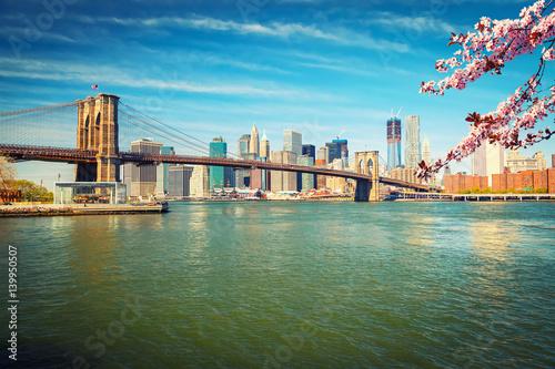 Brooklyn bridge and Manhattan at spring, New York City