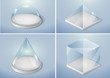 Set of glass forms of a pyramid, a hemisphere and a cube. Vector graphics with transparency effect - 139970717