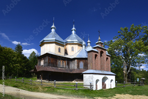 ancient greek catholic wooden church in Bystre near Ustrzyki Dolne - 139976306