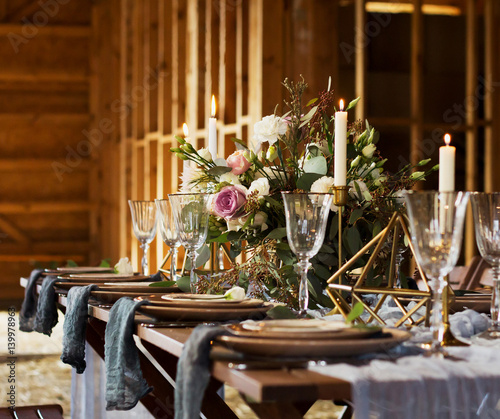 Bouquet and candles. Wedding party. Vintage Style.