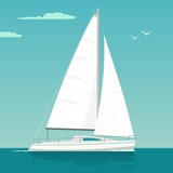 Sailing yacht. Sailboat. Vector drawn flat illustration for yacht club - 139996711
