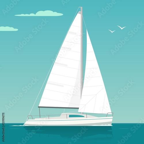 Fototapeta Sailing yacht. Sailboat. Vector drawn flat illustration for yacht club