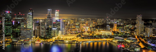 Singapore Skyline and view of Marina Bay Poster