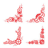 Set of four traditional folk ornaments, hungarian decorative pattern, red embroidery isolated on a white background, vector illustration - 140001173