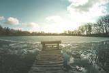 Spring landscape fisheye river on nature sunny