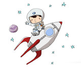 Astronauta en un cohete. Sentado en un cohete dando un viaje espacial - 140002908
