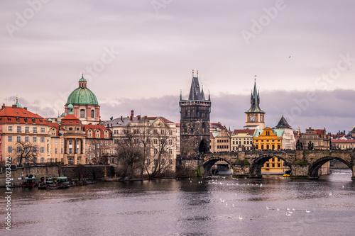 Poster Prague Bridge over Danube