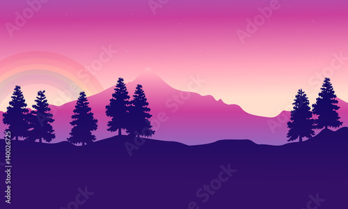 Foto op Canvas Violet Silhouette of mountain with spruce landscape