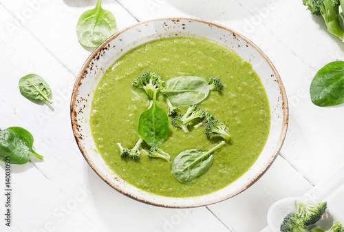 Bowl of green vegetables soup.