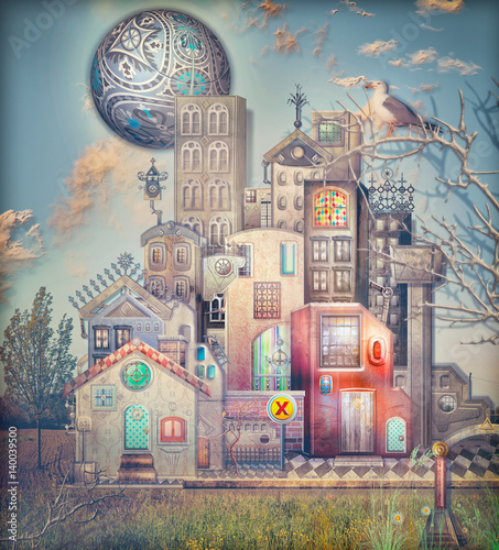 Papiers peints Imagination Sureal town with fairytales palace