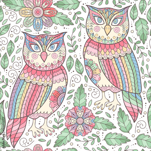 Owl seamless pattern with flowers.