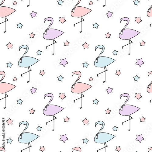 cute colorful flamingos silhouette with stars seamless vector pattern background illustration