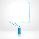Blue Pencil Drawing Smooth Square Speech Balloon