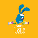 vector happy easter greeting card with funny bunny - 140070184