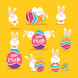 Collection of Easter bunny and egg. A variety of bunny for Easter design. - 140074769