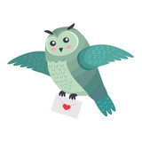 Owl Bird Flying with Letter of Love with Heart Isolated