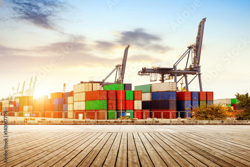 Poster Container terminals, large cranes and containers