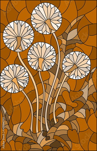illustration-in-stained-glass-style-flower-of-blowball-brown-tone-sepia