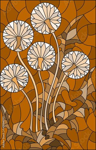 ilustracja-w-stylu-witrazu-kwiat-blowball-brazowy-dzwiek-sepia