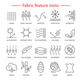Fototapety Fabric feature line icons. Pictograms with editable stroke for g