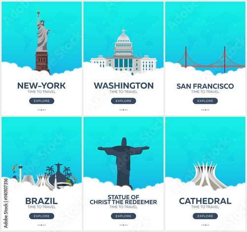 USA, Brazil. Time to travel. Set of Travel posters. Vector flat illustration.
