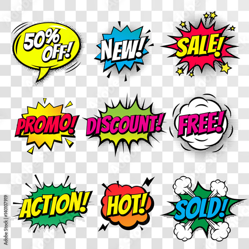 Fotobehang Pop Art Sale discount shopping comic text bubble vector isolated icons set