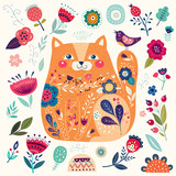 Amazing decorative yellow cat with floral elements