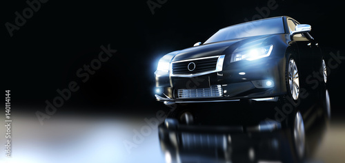 Modern black metallic sedan car in spotlight. Banner