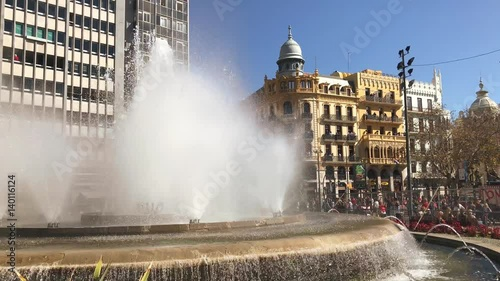 Working fountain on the Ajuntament square in Valencia Spain on 02 March 2017