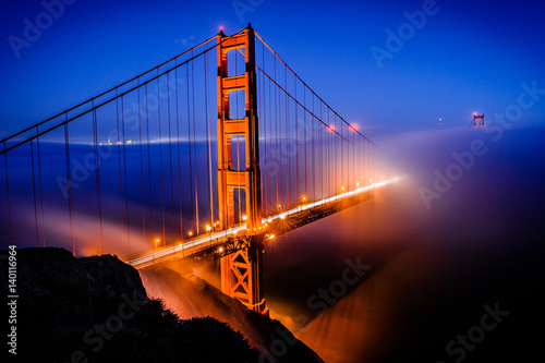 Golden Gate Bridge, San Francisco at sunrise, California Poster