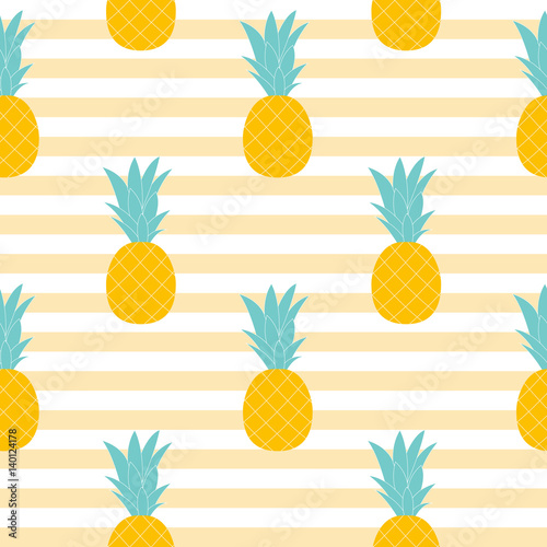Pineapple Natural Seamless Pattern Background Vector Illustratio - 140124178