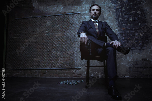 Poster Powerful world class criminal sitting on his throne