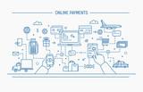 Fototapety Line art flat contour vector illustration. online payments, money transfer, financial transaction.