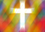 Fototapety Light cross cut out on an Abstract pastel colorful background with copy space for text, rhombus elements a in church stained glass window style