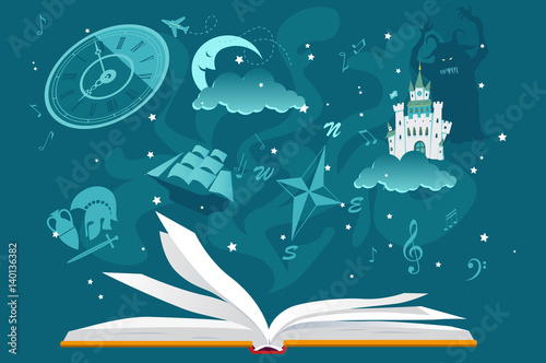 Open book with imaginary fantastic images hovering over it, EPS 8 vector illustration, no transparencies - 140136382