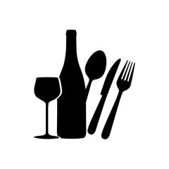 black wine bottle, glass and cutlery icon, vector illustraction design