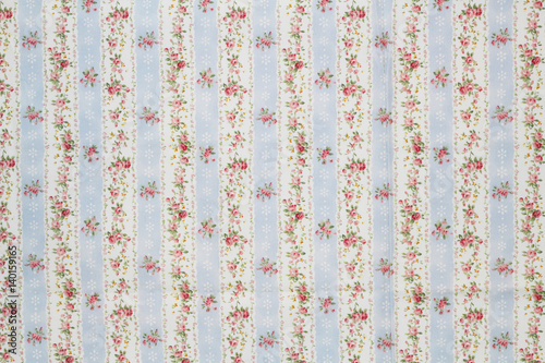 Colorful Cotton fabric in vintage roses pattern for background or texture - 140159165